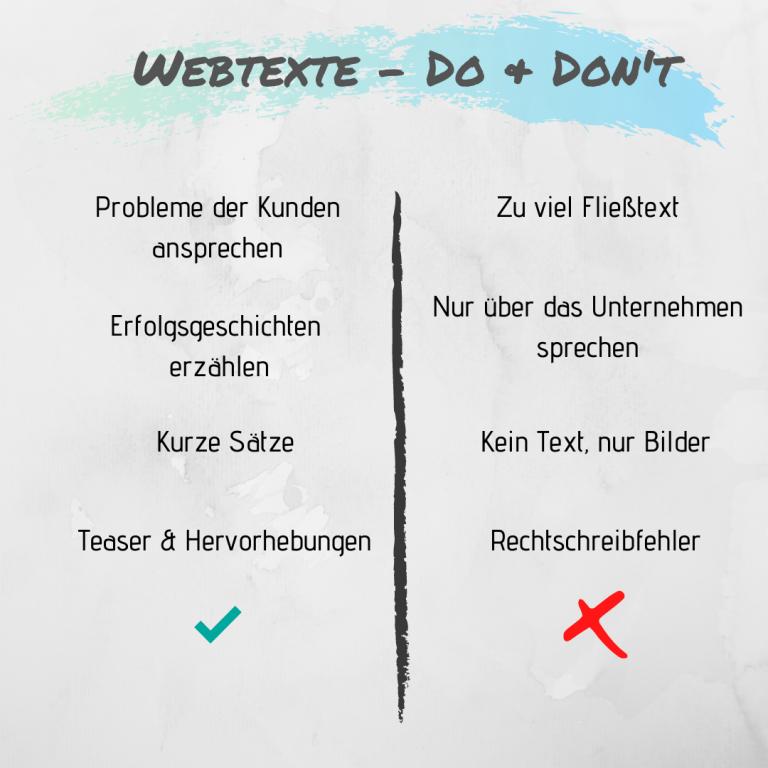 Webtexte schreiben Texte Website Do's and Donts