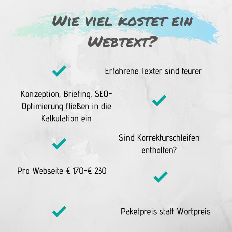 Wie viel kostet Text für Website